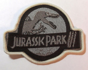 Jurassic Park 7.6cm Logo Kahki Embroidered Iron On/Sewn On Patch with Gift Bag