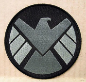 Marvel Comics 7.6cm Shield Logo Silver And White Embroidered Iron On/Sewn On Patch with Gift Bag