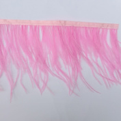 Sowder Light Pink Ostrich Feathers Trims Fringe With Satin Ribbon Tape for Dress Sewing Crafts Costumes Decoration Pack of 2 yards