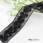Beaded Lace Fabric Ribbon Trim Braided Black Applique Braided Scrapbooking Venise Embossed Decorated Sewing Supplies 9yd/ T874