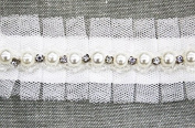10yard Craft Gauze Fake Pearls Rhinestones Beads Trim Decorated Ribbontrim for Dress Wedding Clothes Decoration Accessories T289