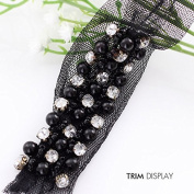 5yard Craft Beaded Black Pearl Crystal Rhinestones Decorated Lace Fabric Ribbon Trim for Dress Clothes Sewing Accessories T288