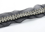 5yard Crystal Sequins Rhinestones Black Rayon Costume Applique Embellishment Decorated Lace Ribbon Trim Dress Sewing Trim T410