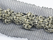 10yards Craft Braided Beaded Black Rhinestones Lace Trim Embroidered Lace Ribbon Trim Costume Applique Sewing on Trim 33mm T480