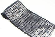 10 Yard Black Glitter Silver Hand Trim Ribbon Sequin Beaded Lace Sewing Trim T89