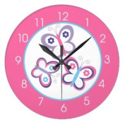 Pink Butterfly Girls Room Round Large 27cm Wall Clock