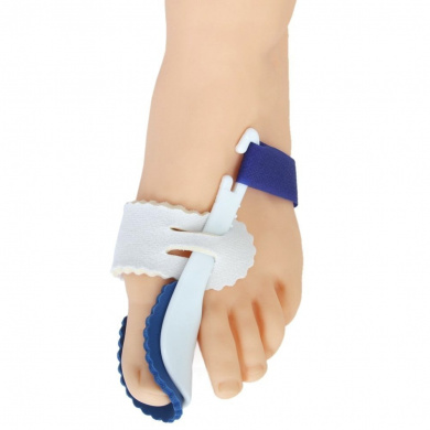 A Pair of Big Toe Bunion Straighteners Night Splint Hallux Valgus Pad Correctors Foot Care (White+Blue)