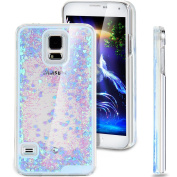 Galaxy S5 Case, NSSTAR Galaxy S5 Bling Case, Liquid Case for Galaxy S5, Creative Design Flowing Liquid Floating Bling Glitter Sparkle Love Heart Hard Case for Samsung Galaxy S5 SV I9600
