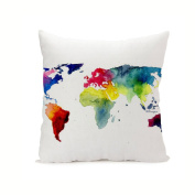 wendana 18 x 18 Pillow Covers Oil Painting World Map Cushion Covers