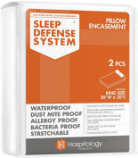 The Original Sleep Defence System - Waterproof / Bed Bug / Dust Mite Proof - PREMIUM Zippered Pillow Encasement & Hypoallergenic Protector, Set of 2, 50cm by 90cm , King