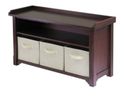 Winsome Verona Storage Bench, Walnut with Beige Baskets