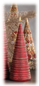 Zodax Velvet with Glitter Brush Cone Candle, Short, Red/Gold