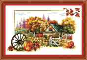 Benway Counted Cross Stitch In Autumn House With Stone Hedge Yellow Trees Pumpkins Flowers And Big Wheel 14count 52cm X 35cm