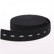 Cotowin 3/4-Inch Wide Black Knit Buttonhole Elastic 5 Yards + 5 Wood Buttons