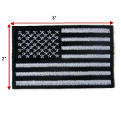 American Flag,Black White,USA Biker shoulder 7.6cm x 5.1cm . embroidered iron on patch motocycle patches
