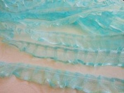 Pack of 50 yards Organza Sheer Single Ruffle Lace Trim (T22-Light Blue) US SELLER SHIP FAST
