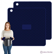 Pratipad PLUS 4-in-1 Multipurpose Silicone Pot Holders, Trivets, Jar Openers, & Spoon Rests - Extra Thick Protection - Set of 2 Navy Blue