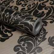 SimpleLife4U Black Damask Self-Adhesive Shelf Drawer Liner PVC Contact Paper 45x300cm