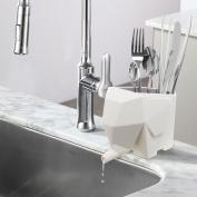 Abstract Cream Colour Elephant Design Plastic Bathroom Toothbrush Holder / Kitchen Utensil Drying Rack Jar