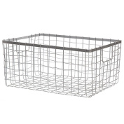 Silver Steel Wire Utility Basket - Large