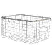 Silver Steel Wire Utility Basket - Small