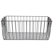 Black Rectangular Wire Basket with Swing Handle - Large