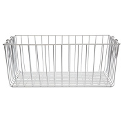 Silver Rectangular Wire Basket with Swing Handle - Large