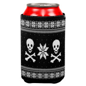 Skull & Crossbones Ugly Christmas Sweater All Over Can Cooler