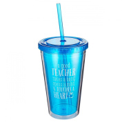 """Blue Blessings to the Teacher """"Touches a Heart"""" Insulated Plastic Tumbler - 1 Corinthians 16:14"""