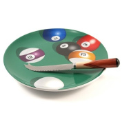 Pool Parlour Billiards Cheese Plate With Cheese Spreader/Knife