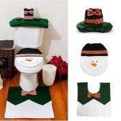 Ohuhu Christmas Santa Toilet Seat Cover, Toilet Rug Mat & Paper Box Cover, Green