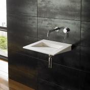 Clickbasin Nero 40cm x 40cm Pure White Solid Surface Wall Mounted Square Basin