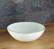 Clickbasin Countertop 27cm White Glass Savona Round Washbasin Sink