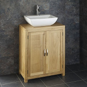 Clickbasin Contemporary White Sink With 65cm by 34cm Oak Single Door Cabinet Set