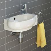 iBathUK | Modern Oval Ceramic Cloakroom Basin Left Hand Bathroom Sink CA1009L