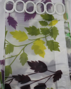 Shower Curtain Green And Purple Leaves 180 cm Long PEVA Shower Curtain with 12 C Shaped Rings