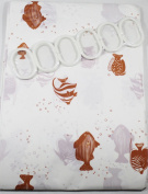 Shower Curtain Brown Fish design 180 cm Long PEVA Shower Curtain with 12 C Shaped Rings