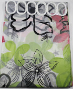 Shower Curtain Red,Green & Black Flowers & Rings 180 cm Long PEVA Shower Curtain with 12 C Shaped Rings