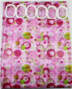 Shower Curtain Pink & Green Bubbles 180 cm Long PEVA Shower Curtain with 12 C Shaped Rings