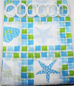 Blue Star Fish With Green & Blue Square Design 180 cm Long PEVA Shower Curtain with 12 C Shaped Rings