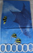 Blue Aquarium 180 cm Long PEVA Shower Curtain with 12 C Shaped Rings