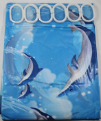 Blue Dolphin 180 cm Long PEVA Shower Curtain with 12 C Shaped Rings