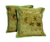 2 Green Handcrafted Sequin Embroidery Ethnic Indian Elephant Design Throws Pillow Cases Toss Cushion Covers