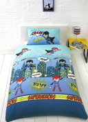 Super Heroes Blue Aqua Yellow Kids Childrens Boys Single Bed Size Duvet Cover Hallways ®