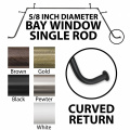 Source Global Bay Window Curtain Rods, 5/8, White
