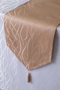 Striped Damask Fabric Table Runner 30 CM x 100 CM with Pointed Ends First-Tex in orange