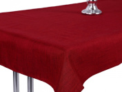 Tablecloth Linen Look Water-Resistant (lotus effect and Stain Protection oval bordeaux 135 x 180 Premium Quality