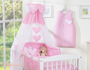 BEAUTIFUL NEW & QUALITY PINK CANOPY / DRAPE / MOSQUITO NET with decorative BOW & HEARTS + DRAPE / CANOPY HOLDER MOSQUITO NET CLAMP ROD BAR POLE COT / COT BED