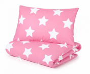 Cotbed Duvet Cover and Pillowcase Set, Pink with White Stars