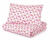 Cotbed Duvet Cover and Pillowcase Set, Pink Roses